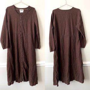 FLAX Dark Brown Long Sleeve Button Up Maxi Dress